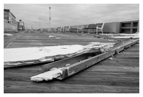 BW photograph of the drywall debris from the Days Inn in Ocean City.