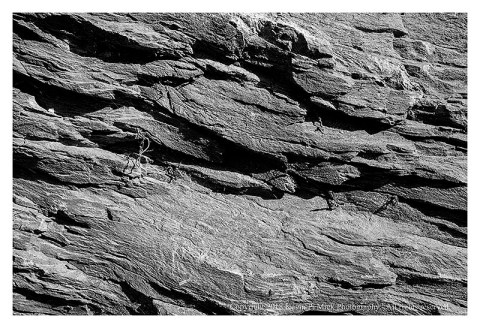 BW photograph of some of the rocks at the entrance to Harpers Ferry.
