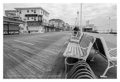 BW photograph of the Ocean City boardwalk looking north.