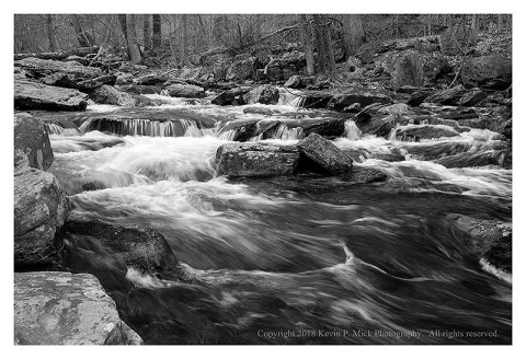 BW photograph of Big Hunting Creek. with post-winter flow.