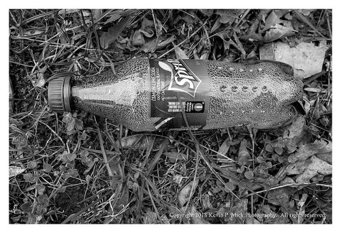 BW photograph of a Sprite bottle laying in the grass.