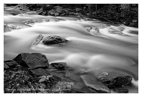 BW photograph of Big Hunting Creek after several days of heavy rains.