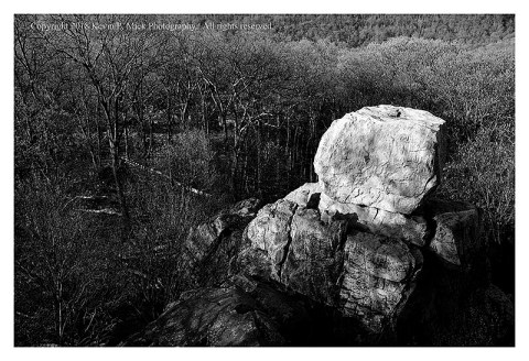 BW photograph looking down onto Chimney Rock.