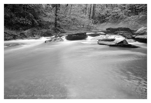 BW photograph of Morgan Run after days of heavy rains.