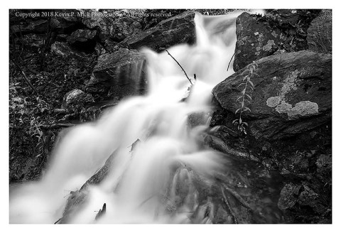 BW photograph of water run-off after torrential rains.