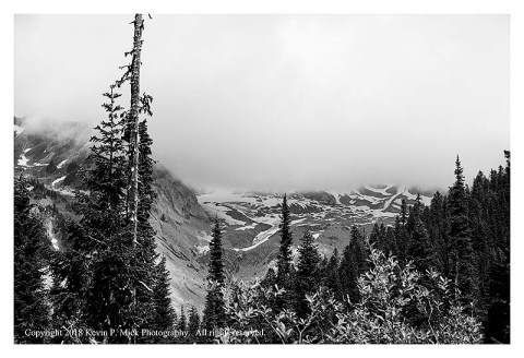 BW photograph of the origins of the Nisqually Glacier on Mt. Rainier.