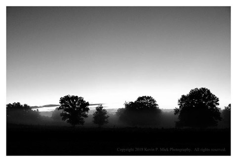 BW photograph of the early morning sunrise just outside of Graceham, MD.
