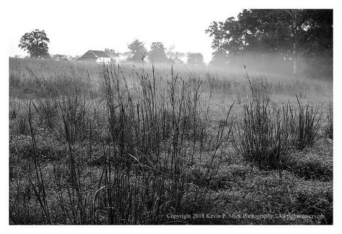 BW photograph of a foggy field with a barn and house in the background.