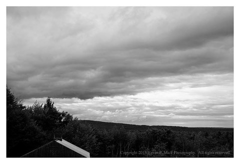 BW photograph of an overcast day in Mercer, ME.