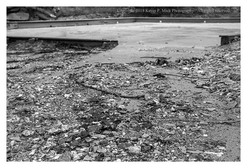 BW photograph of the erosion debris onthe walkway at Morgan Run after a recent deluge.