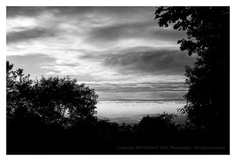 BW photograph of the sunrise looking out from the Thurmont Vista.