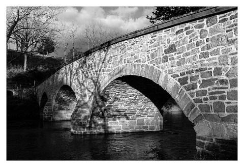 BW photograph of Burnside Bridge at Antietam.