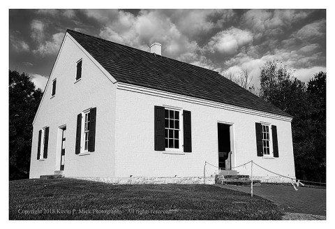 BW photograph of the Dunkerd Church at Antietam.