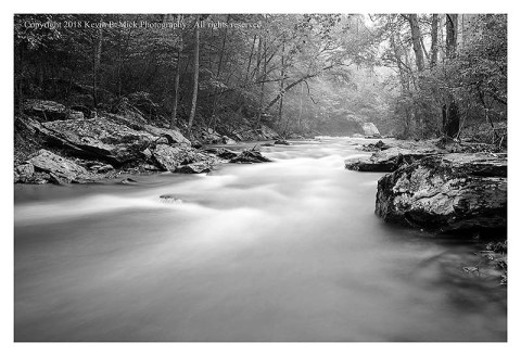 BW photograph of Morgan Run with blurred water due to slow shutter speed.