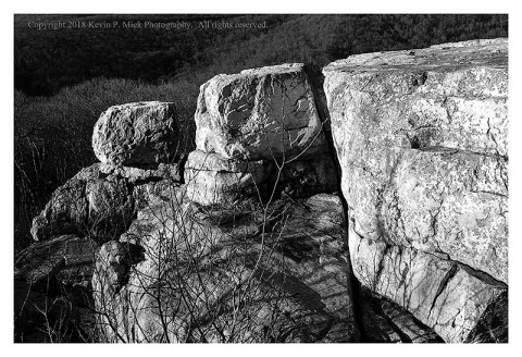 BW photograph of the three large rock formations at Chimney Rock.