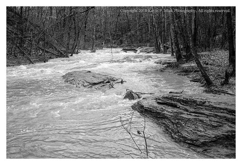 BW photograph of another flood of Morgan Run.