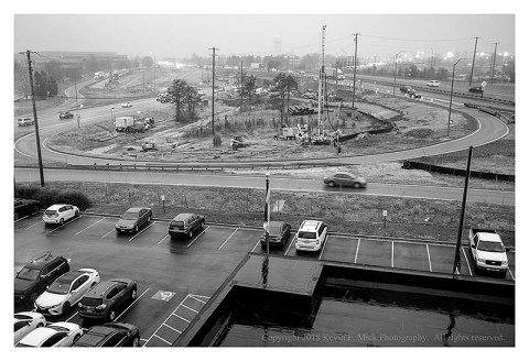 BW photograph of highways from a hotel window.