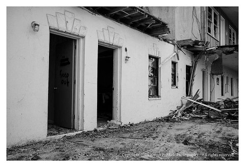 BW photograph of the lower level of the being demolished Sands Motel.