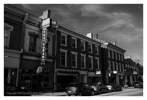 Bw photograph of Main Street in Lexington, VA.