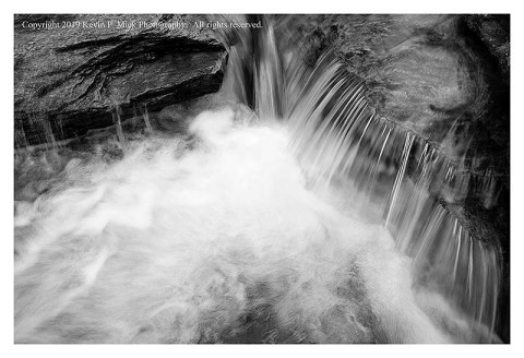 BW photograph of the mini-falls at Morgan Run.