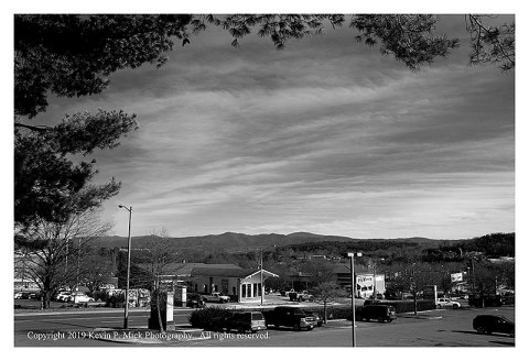 BW photograph of the Virginia mountains looking out from Lexington, Va.