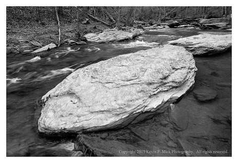BW photograph of the large rocks in Morgan Run.