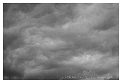BW photograph of rain clouds.