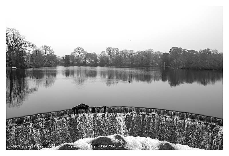 BW photograph of the Silver Lake spillway.
