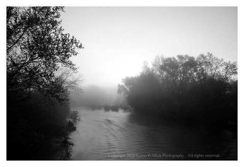BW photograph of the Monocacy River on a foggy morning.