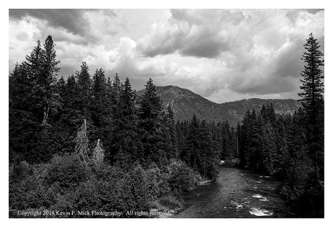 BW photograph of either the Wenatchee or Chiwawa River.