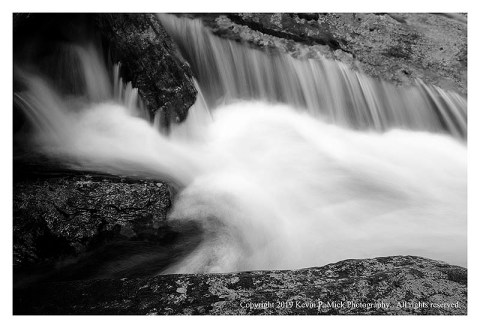 BW photograph of a small section of Big Hunting Creek following strong storms.