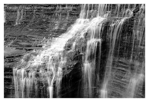 BW photograph of a section of Buttermilk Falls.