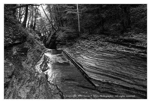 BW photograph of one of the last sections of Buttermilk Falls.