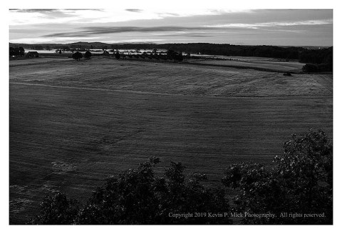 BW photograph looking from Confederate Ave. toward the Emmitsburg Road.