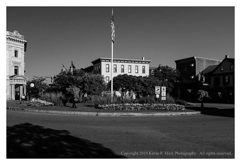 BW photograph of the square in Gettysburg, PA on an early, hot, summer morning.
