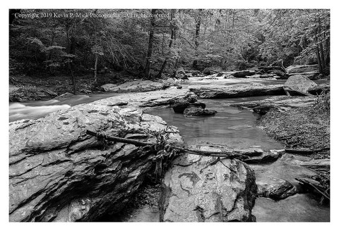 BW photograph of the rocks at Morgan Run the morning after the recent flooding.