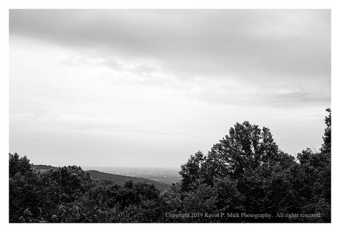 BW photograph of an overcast sky the morning after strong storms.
