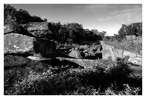 BW photograph of the area known as the Slaughter Pen in Gettysburg, PA.