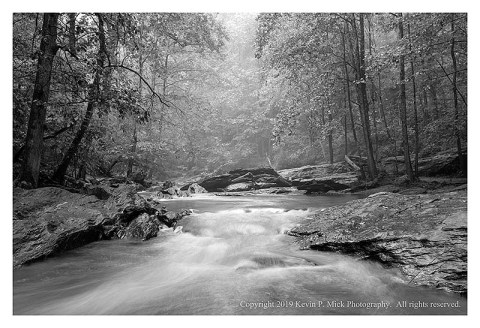 BW photograph of Morgan Run on a foggy morning.