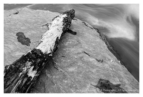 BW photograph of a section of log deposited on a flat rock after a strong storm.