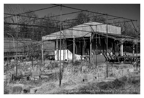 BW photograph of the main building of an abandoned nursery.