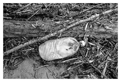 BW photograph of a plastic bottle amid twigs and sticks storm debris.
