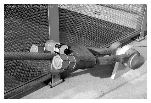 BW photograph of a discarded plastic bottle placed on a bridge tension cable.