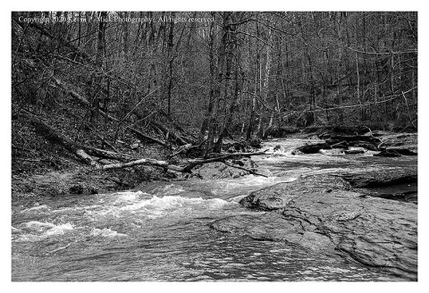 BW photograph of Morgan Run after a hard rain.