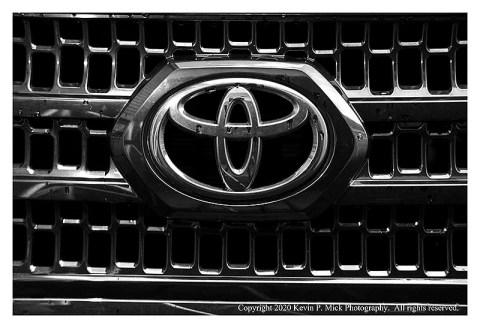 BW photograph of a Toyota grill.