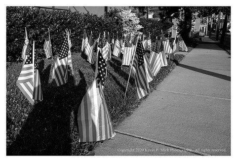 BW photograph of a bunch of flags set out for the Fourth of July.