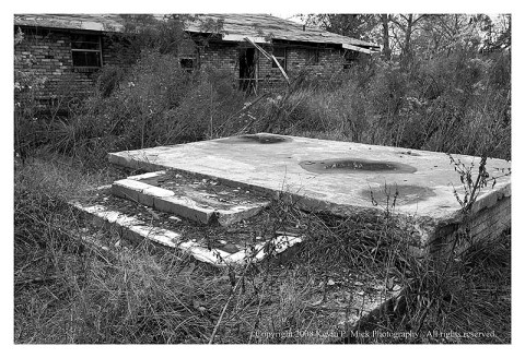 BW photograph of a foundation in New Orleans three years after Katrina.