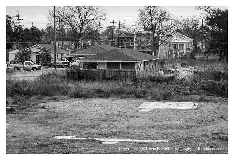 BW photograph looking into the 9th Ward from the Industrial Canal Seawall three years after Hurricane Katrina.