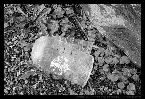BW photograph of a broken Starbucks plastic cup in park parking lot.