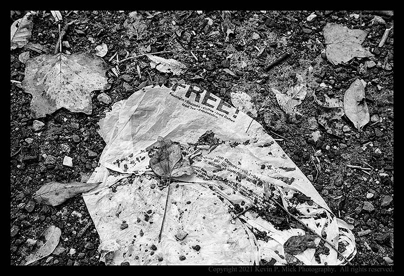 BW photograph of a left behind plastic bag.